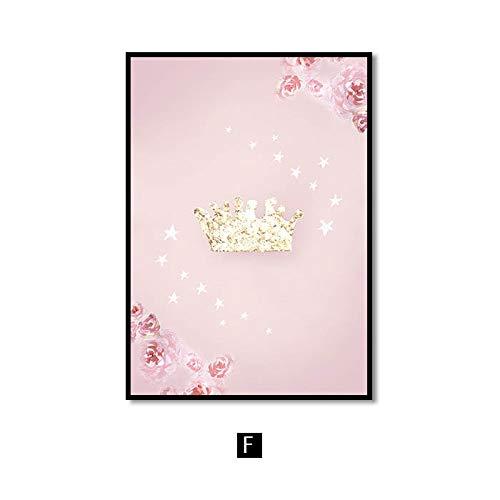 No frame Roze kwekerij meisje bloem muur canvas schilderij paard zwaan Nordic posters en prints muur foto's voor woonkamer kinderkamer 60x90cm