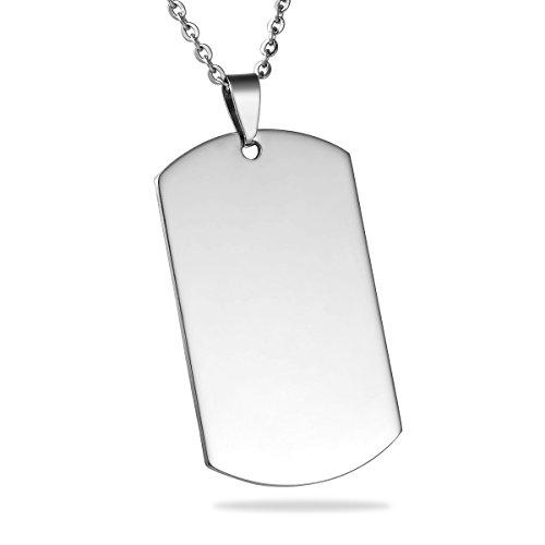 HOUSWEETY Personalisiert Fingerabdruck Edelstahl-Halskette- Anhaenger Tag