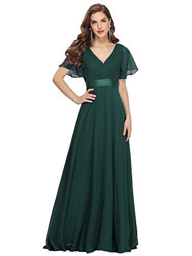 Ever-Pretty Damen Abendkleid Frau A-Linie Festliches Kleid V Ausschnitt Hochzeit lang Dunkelgrün 48