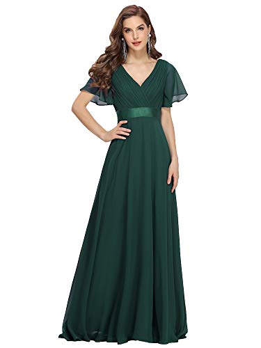 Ever-Pretty Womens V Neck Formal Wedding Party Dress 12 US Green