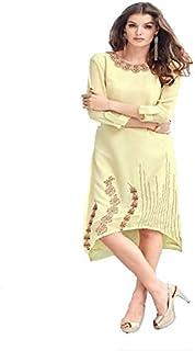 Monika Silk Mill Women's Yellow Color Stitched Georgette Kurti