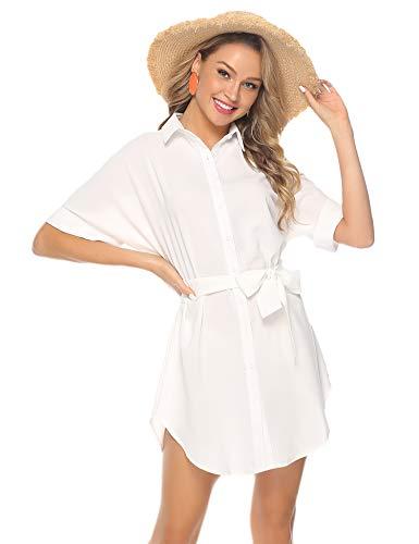 Abollria Damen Chiffon Hemdblusenkleid Fließende Longbluse Casual Leicht Sommerkleid mit Abnehmbar Bindeband,Weiß,L