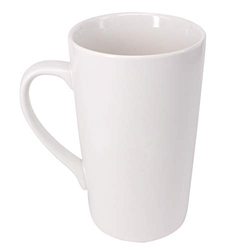 Belinlen 16 OZ Coffee Cup Simple Pure White Ceramic Cup Plain Large Tall White Ceramic Milk Tea Coffee Mug with Handle