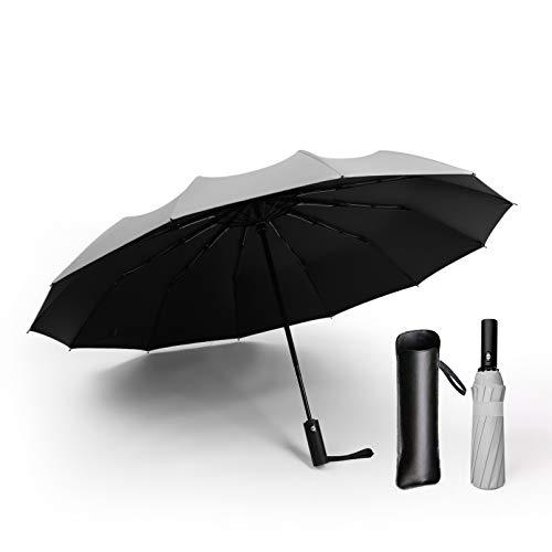 Qingbay Automatic Folding Compact Travel Umbrella Auto Open and Close 12Ribs (Grey)