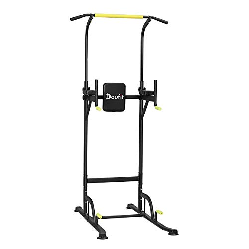 Doufit Power Tower Exercise Equipment, PT-01 Adjustable Power Tower Dip Station with Pull Up Bar for Home Gym, Heavy Duty Strength Training Workout Equipment