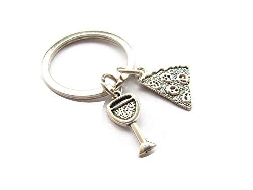 Porte-clés en forme de nourriture, pour vin, glace, livre de cuisine, couteau, fourchette, pizza, porte-clés mignon