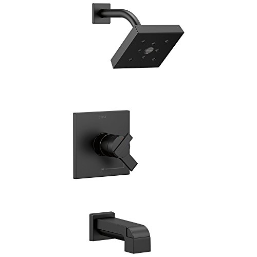 Ara 17 Series Dual-Function Tub and Shower Trim Kit with Single-Spray H2Okinetic Shower Head, Matte Black  (Valve Not Included) - Delta T17467-BL