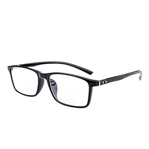 CAOXN Gafas De Montura Completa TR90 con Bloqueo De Luz Azul, Gafas para Juegos De Computadora Antideslumbrantes, Inteligentes, De Enfoque Múltiple, Anti-Fatiga Ocular,Negro,+2.00