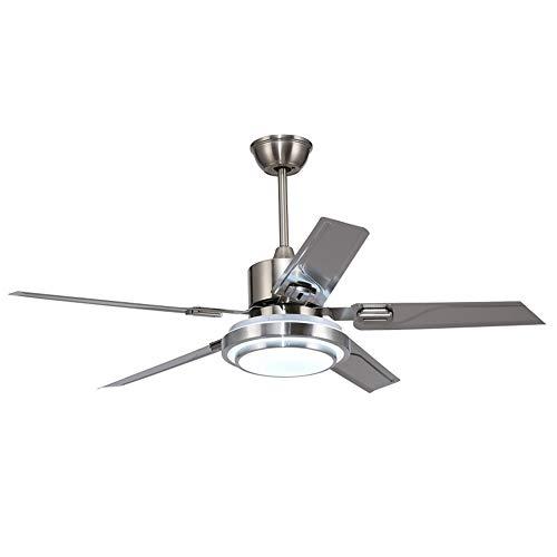 Outdoor Ceiling Fan Light,Remote Control Patio Ceiling Fan with 5 Reversible Stainless Steel Blades,52 inch Ceiling fan with LED Light for Pavilion,Warehouse Ceiling fan farm Fan Barn Fan (52 inch)