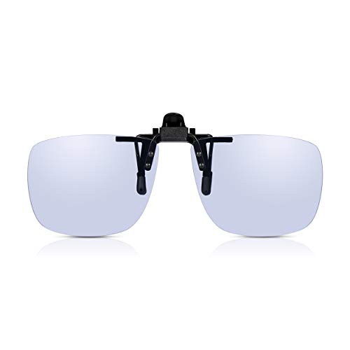 Read Optics Clip-On Blaulicht-Filter Computer Brille: Ungetönte klare Gläser, TAC polarisiert, UV400 Filter. Für Bildschirme, PC, Handy, Gaming. Reduziert Belastung der Augen, Müdigkeit, Kopfschmerzen