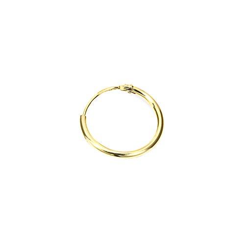NKlaus 585er 14 Karat echt GOLD Einzel HERREN Creole Ohrring Ohrschmuck Ohrhänger 13mm 1751