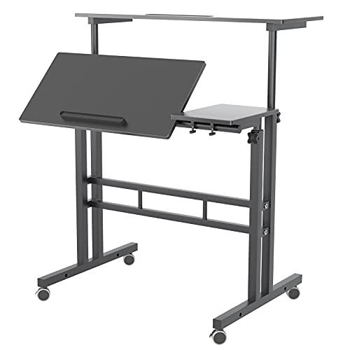 DlandHome Mobilny wózek stołowy z regulacją wysokości siedziska, stolik stojący, stolik do pracy, mobilne biurko z podkładką pod mysz, czarne