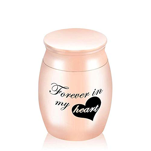 Forever in My Heart Caja de oración de Recuerdo rellena y grabada de Color Plateado y Azul Urna para Cenizas de cremación para Mascotas humanas-Oro Rosa 30x40mm