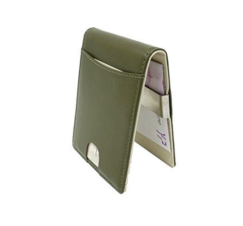 CRS Wallet CRS Wallet Geldbörse mit Münzfach & Geldklammer | RFID Schutz | Kompaktes Design | Echtleder Portmonee mit Fächern für Kreditkarten, Personalausweis, Führerschein & Visitenkarten (Navy-Green)