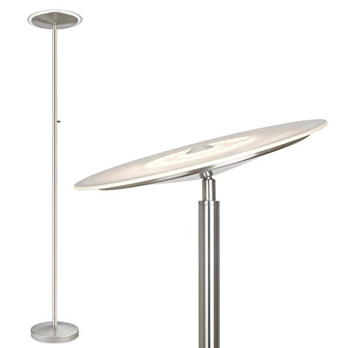 Kira Home Horizon 70' Modern LED Torchiere Floor Lamp (36W, 250W eq.), Glass Diffuser, Dimmable, Timer and Wall Switch Compatible, Adjustable Head, 3000k Warm White Light, Brushed Nickel Finish
