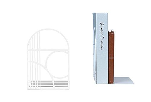 NEUN WELTEN Buchstützen der einzigartigen Linien für Schreibtisch und Regale (Weiß)