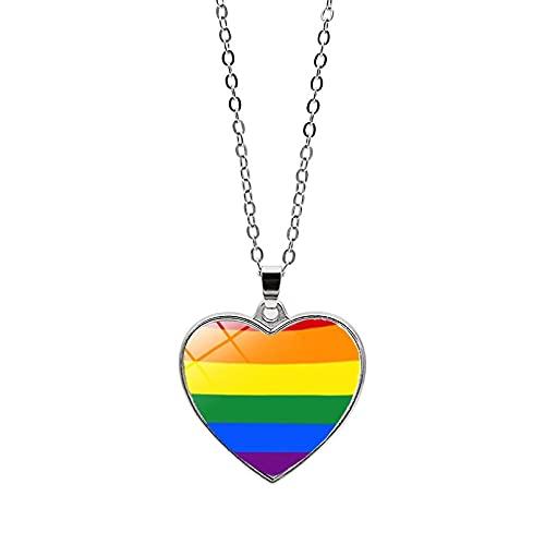 ZFAYFMA Collar con Colgante LGBT Rainbow Gay Pride Collar De Moda para Hombres Y Mujeres Moda Día De La Madre Regalo De Cumpleaños para El Día De San Valentín L