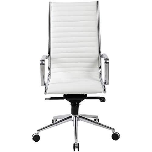 Certeo Bürodrehstuhl Abbey mit gebundenem Leder, weiß - Bürostuhl mit Soft Touch Leder - Schreibtischstuhl mit italienischem Design