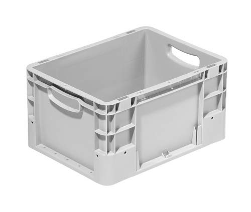 Stapelbox im Euroformat 400x300x220 mm | Eurobehälter | Stapelbehälter | Transportkiste | Transportbehälter Farbe grau