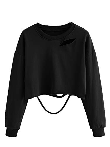 SweatyRocks Women's Long Sleeve Crop T-Shirt Distressed Ripped Cut Out Tee Tops Black L