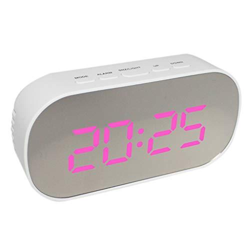 LED Wecker Digitaluhr Digitale Funkwanduhr Tischuhr mit Temperaturanzeige und Kalender - Weißer Rahmen Rosa Licht