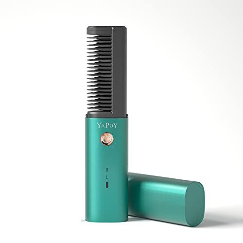 YAPOY Planchas para el pelo Cepillo Alisador con batería recargable de 2600 mAh peine alisador de cabello con función anti-escaldado, Dientes chapados en metal, Función de apagado automático Verde