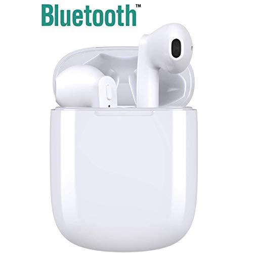 Auricular Toque Bluetooth 5.0,micrófono y Caja de Carga incorporados, reducción del Ruido estéreo 3D HD, IPX5 a Prueba de Sudor, Emparejamiento automático,para iPhone/AirPods/Android