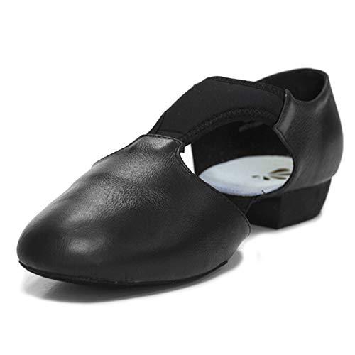 DANCEYOU Dance Teaching Sandal Jazz Dance Shoes Grecian Split Sole Leather T-Strap Upper Contemporary Shoe,Black,Women 9M