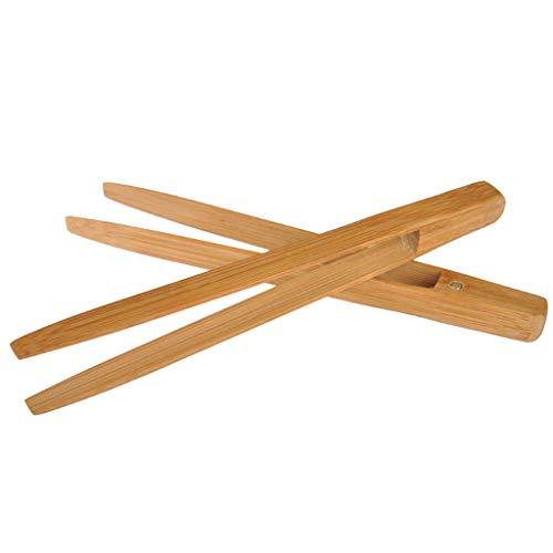 JOYKK Bamboo broodrooster keukentang Long Easy Grip broodrooster serveertang om te koken - houtkleur