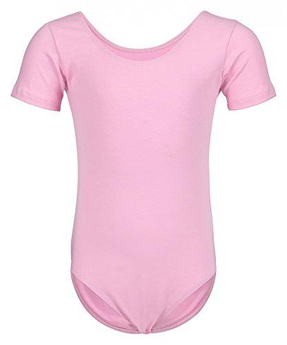 tanzmuster ® Ballettanzug Mädchen Kurzarm - Sally - (Größe 92-170) aus weichem Baumwollstoff Ballett Trikot Ballettbody in rosa, Größe 128/134