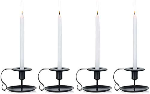 Candlestick Holders Set, Retro Black Iron Candle Holder Stand, Taper Candlelight Stand Single-Head Candlelight Holder 4 Pieces