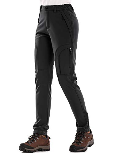 Women's Fleece Lined Outdoor Cargo Hiking Pants Water Repellent Softshell Snow Ski Pants with Zipper Pockets,H4409,Black,36