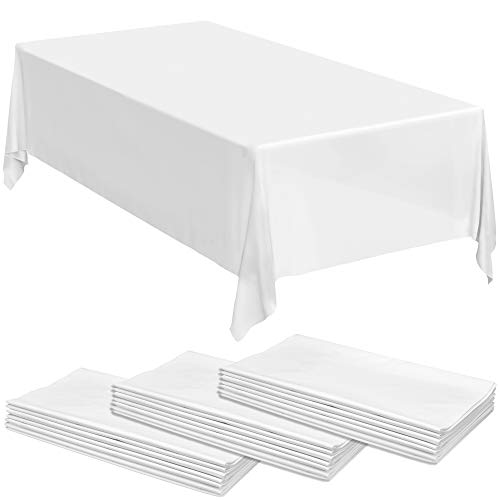 24 White Premium Plastic Tablecloths - 108 X 54 Plastic Table Cloth | Disposable Tablecloths | White Tablecloths | Plastic Table Cover | Paper Tablecloths for BBQ, Party, Fine Dining, Wedding,Outdoor