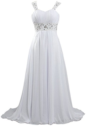 Fanciest Women's Lace Chiffon Beach Wedding Dresses for Bride 2021 with Sleeves Long Bridal Gown Ivory US18W