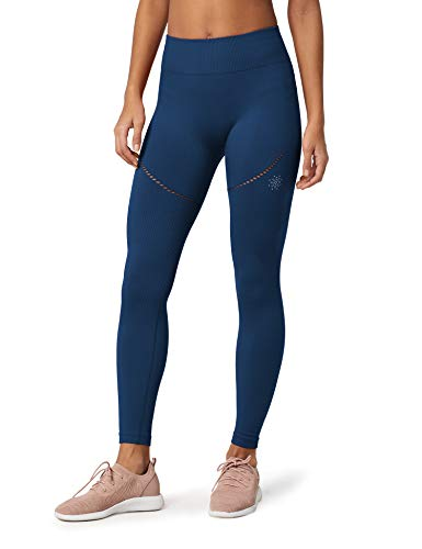 Marca Amazon - AURIQUE Mallas de Deporte sin Costuras Mujer, Azul (Dress Blue), 38, Label:S