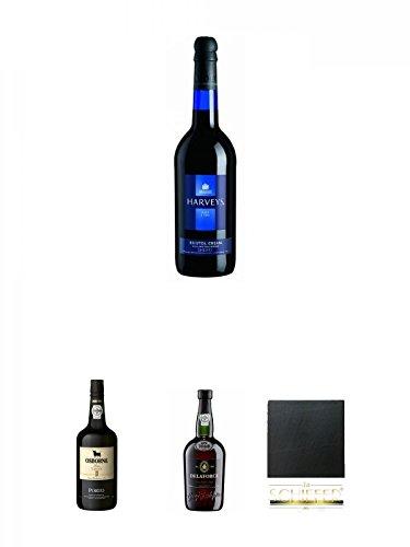 Harvey's Bristol Cream blue Bottle 0,75 Liter + Osborne Tawny Port 19,5% 0,75 Liter + Delaforce Fine Ruby Portwein Portugal 0,75 Liter + Schiefer Glasuntersetzer eckig ca. 9,5 cm Durchmesser