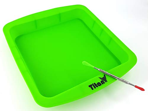 TitanOwl Silicone Deep Dish Container Tray Cake Pan Aprox 8'x8' + Carving Scrape Tool (Green)