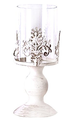 ZOYLINK Stumpenkerzenhalter Vintage Galvanized Iron Candle Centerpiece Mit Lampenschirm Aus Glas