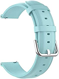 Watchbands - أحزمة جلدية لساعة Realme بسوار معصمه سوار معصمه كوريا لملحقات الساعة الذكية Realme 20 مم (أزرق فاتح لساعة Realme