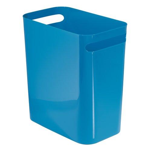 Price comparison product image iDesign 93184EU Una Rubbish Bin with Handles,  Plastic Wastepaper Bin for Office,  Kitchen or Bedroom,  Blue 30.5 cm