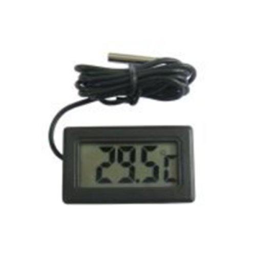 Digitale thermometer, lcd-display, inbouwbaar, zwart, met waterdichte sonde, ideaal voor temperatuurmeting in de koelkast, diepvrieskast, aquarium, terrarium, auto, zwembad, sauna, enz. NIEUW