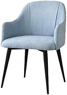 FDN Cocina Sillas de Sala de Patas De Metal,Sillón de Oficina Mostrador Lounge Sillas Retro Side Dining Terciopelo Sillón de Relajación Sillas de Comedor (Color : Blue, Size : Black Legs)
