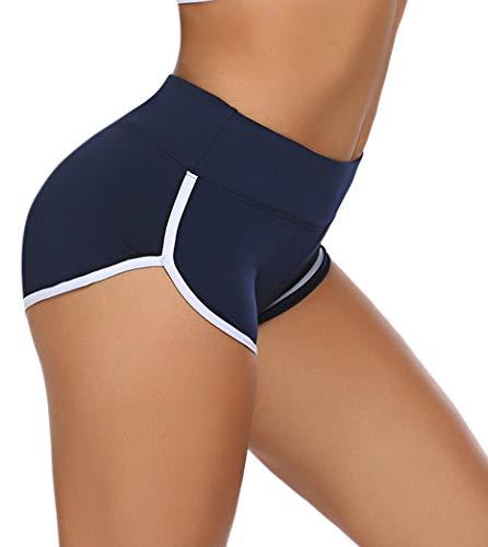 ADOME Kurze Sporthose Damen Sportshorts Enge Yogahose Mini Hotpants Jogginghose Workout Sport Fitness Gym Blau