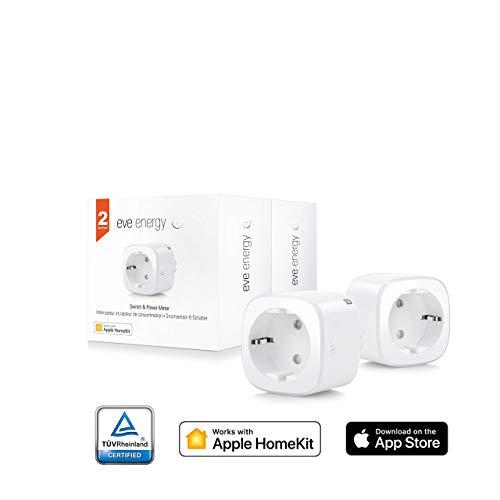 Eve Energy (x2 Set) - Sensor inalámbrico de electricidad e Interruptor, Bluetooth Low Energy, non occorrono bridge o gateway, blanco (Apple HomeKit)