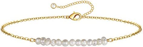 Dainty Pearl Bracelets for Women 14K Gold Filled Tiny Chain Bracelet Cute Gold Pearl Chain Bracelets product image