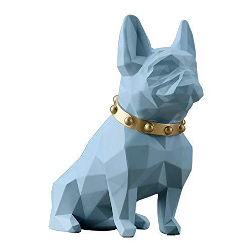 MagiDeal Art Sculpture Statue Modren Simple Design French Bulldog Figurine Geometric Animal Decor for Home Gifts Souvenirs Giftbox Resin - Blue Large