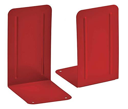 Acrimet Premium Metal Bookends (Heavy Duty) (Red Color) (1 Pair)