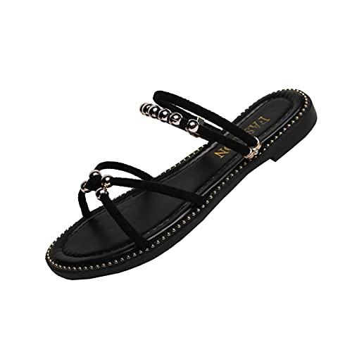 scarpe donna estive con tacco scarpe basse donna estive pantofol donna estiv comod ciabatt scarp donna tacco comod ciabatte cotone (36E-Black,40)