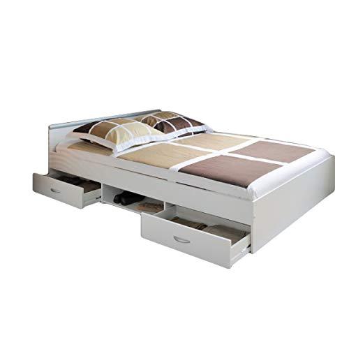 Funktionsbett Alawis 140 * 200 cm Weiß inkl 2 Roll-Bettkästen Jugendzimmer Kinderzimmer Bett Bettliege Jugendliege Jugendbett Kinderbett