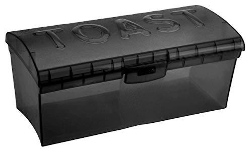 MIK Funshopping Brotkasten Brotbox Brotdose Vorratsdose aus lebensmittelechtem Kunststoff (Toastbrotbox grau transparent)